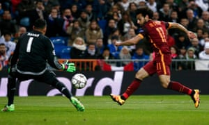 Roma's Mohamed Salah, right, in action against Real Madrid.