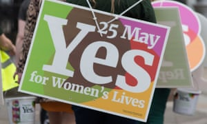 yes campaign banner for Ireland's abortion referendum.