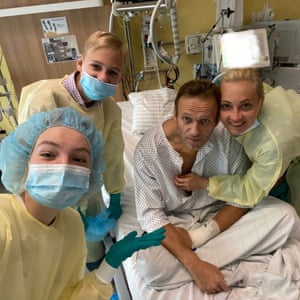 Berlin, Germany: Russian opposition leader Alexei Navalny poses for a selfie with his family at Berlin's Charite hospital