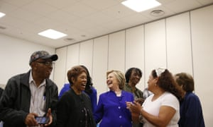 Hillary Clinton at the community center in Compton where she made her remarks.