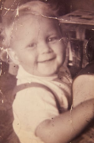 John Chambers as a baby, when his parents were still together.