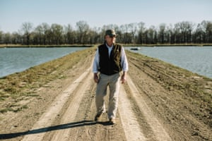 """Jason """"Bubba' Braswell walks between catfish ponds at his farm near the town of Belzoni."""