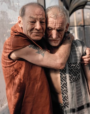 Terry and Lee, Age 58 and 68, Ex-Coal Miner and Construction Worker, Bus Station Wearing Antipodium and McQ Alexander McQueen