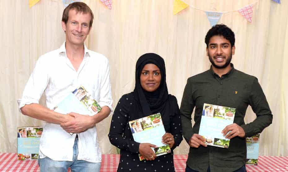 The Great British Bake Off finalists (left to right) Ian Cumming, winner Nadiya Hussain, and Tamal Ray, at a book signing in London.