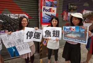 Wildlife activists from WildAid and Hong Kong Shark Foundation stage a protest outside a FedEx depot in Kennedy Town, Hong Kong, China