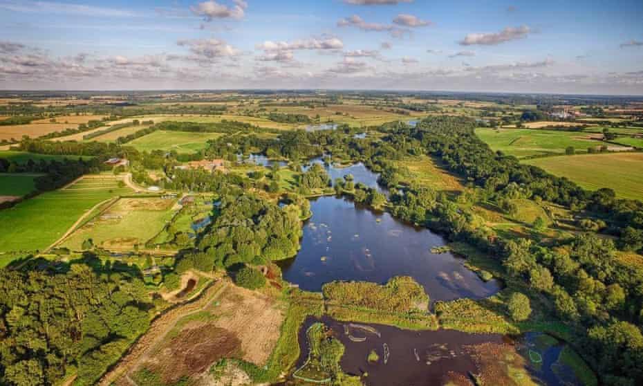 Aerial view of Pensthorpe Natural Park, Norfolk, UK.
