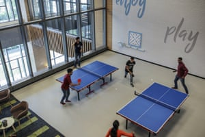 There are characteristic Amazon touches to the building, such as areas for table tennis, pool and air hockey. There are Zumba classes, a Treadwall and even a small synthetic cricket pitch.
