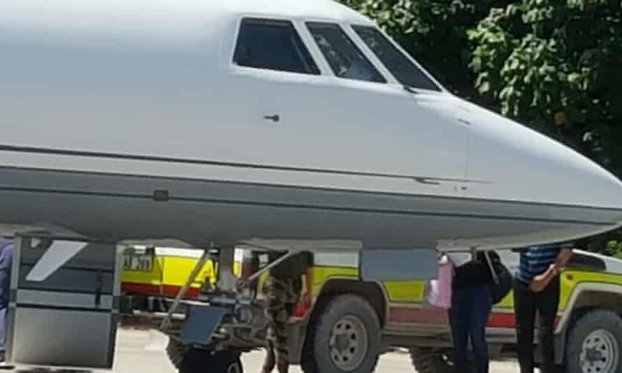 A plane picks up a patient on Nauru