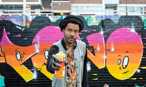 'The illegal side of graffiti challenged my principles at first': Marcus Barnes, graffiti artist, photographed in London Fields for the Observer last week by Sophia Evans.
