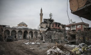 Damaged buildings in the Sur district of the mainly-Kurdish city of Diyarbakir.