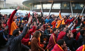 Galatasaray supporters in front of the arena after the derby was called off.