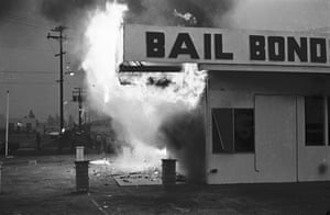 Bail bonds agency engulfed in flames, East L.A.January 31, 1971 Maria Marquez-Sanchez. As featured in La Raza.