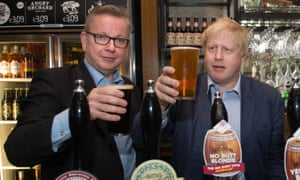 EU referendumMichael Gove and Boris Johnson (right) pull pints of beer at the Old Chapel pub in Darwen in Lancashire, as part of the Vote Leave EU referendum campaign. PRESS ASSOCIATION Photo. Picture date: Wednesday June 1, 2016. See PA story POLITICS EU. Photo credit should read: Stefan Rousseau/PA Wire