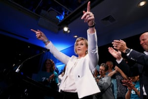 Independent Warringah candidate Zali Steggall celebrates her win over Tony Abbott on 18 May
