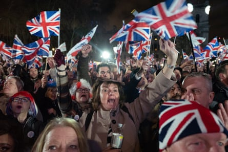 Leave supporters gather to celebrate Brexit day, 31 January 2020