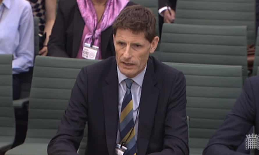 A screengrab of Steve Denison giving evidence to the House of Commons