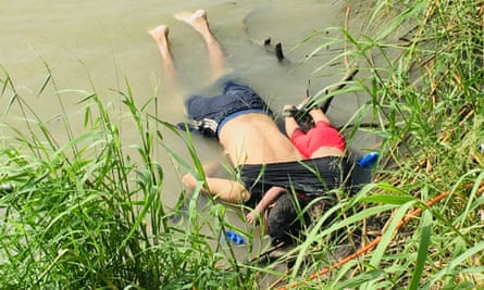 The bodies of Salvadoran migrant Óscar Alberto Martínez Ramírez and his nearly 2-year-old daughter Angie Valeria lie on the bank of the Rio Grande in Matamoros, Mexico.