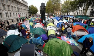 XR tents on Whitehall in central London