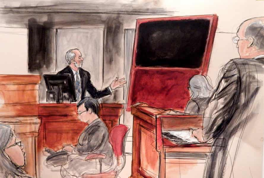 In this courtroom sketch, Domenico De Sole, a chairman of the board at Sotheby's, gestures towards his fake Mark Rothko painting, at a civil trial in New York at Manhattan federal court.