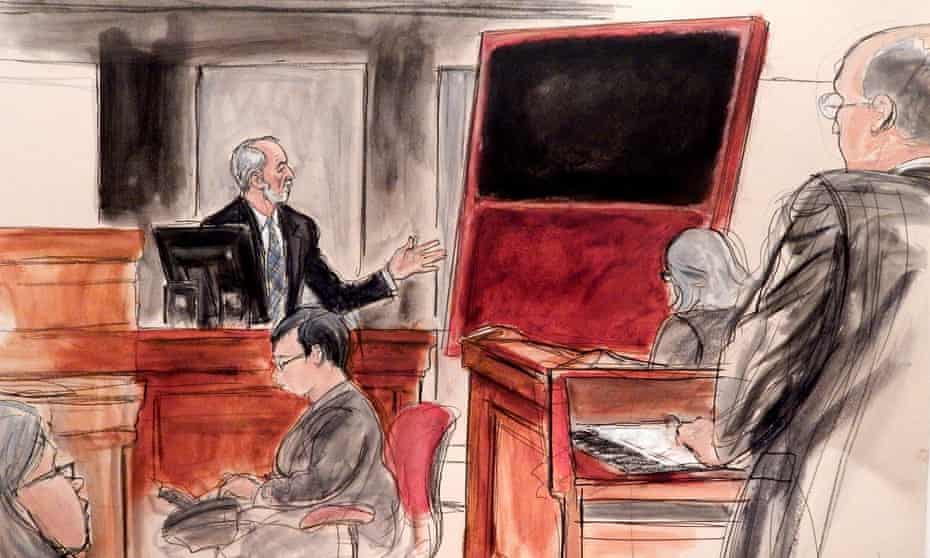 A fake Mark Rothko painting is shown to the court during a trial in New York in 2016.