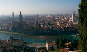 The beautiful city of Verona, on the River Adige.