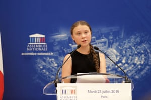 Greta Thunberg addresses the French National Assembly, Paris, 23 July 2019.