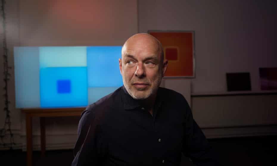 Brian Eno in his studio