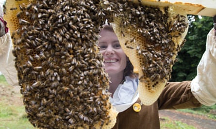 Alys Fowler with her bees' first honeycombs