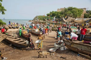 The shore of the fishing village of Senya in the afternoon.