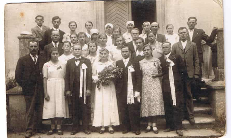 This is one of the photos Maria Nawara found that started her search for her father's sisters. This is her surviving aunt's wedding in the summer of 1939. Her aunt was 16.