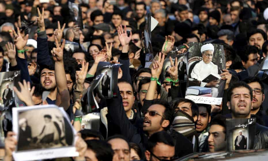 Mourners on the streets of Tehran