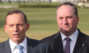 Agriculture minister Barnaby Joyce (right) said he had been forced to cancel a planned Q&A appearance after Tony Abbott (left) issued his ban.