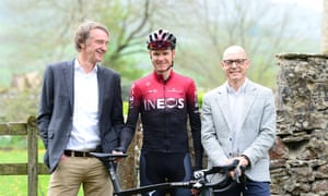 Sir Jim Ratcliffe (left), Sir David Brailsford and Chris Froome at the Team Ineos launch.
