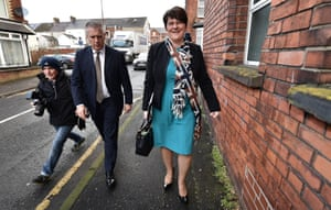 Day of reckoning: DUP leader and Northern Ireland first minister Arlene Foster arrives at DUP headquarters on 10 January 2017.