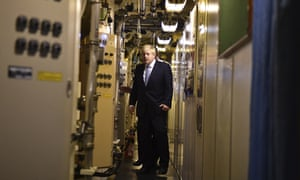 Boris Johnson tours the nuclear submarine HMS Victorious at the Naval Base in Faslane.