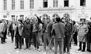 Student protesters demonstrate outside the Sorbonne in Paris in May 1968.