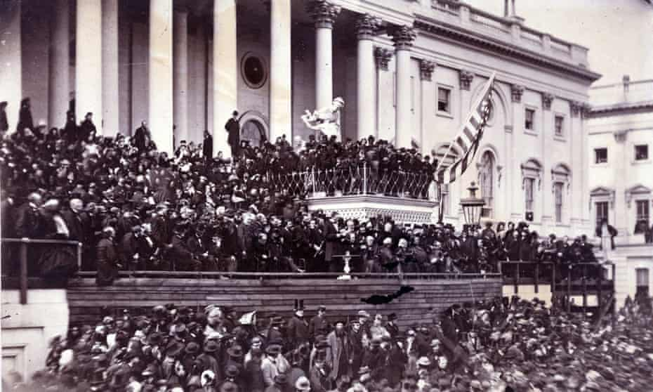 Abraham Lincoln delivers his second inaugural address in 1865, in which he vowed to 'bind up the nation's wounds.