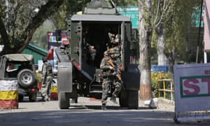 Indian soldiers arrive at the base in Uri, west of Srinagar, in Indian-controlled Kashmir.