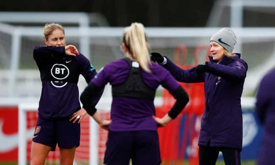 Hege Riise (right) talks to Steph Houghton during a training session at St George's Park.