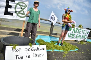 Activists stand next to a placard reading 'Too many pigs kill local inhabitants' as they protest against toxic seaweed that covers the Valais beach in Saint-Brieuc.