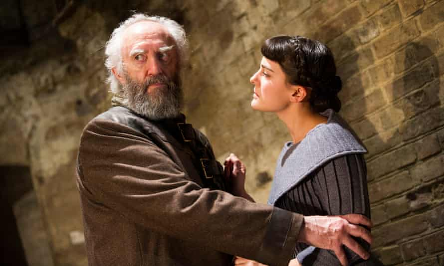 The fatherhood text … King Lear (Jonathan Pryce) and Cordelia (Phoebe Fox) in the Almeida theatre's 2012 production.