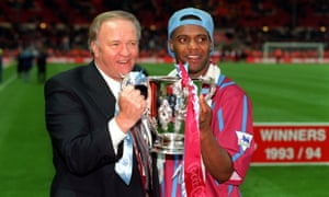 Dalian Atkinson with Aston Villa manager Ron Atkinson celebrating League Cup win in 1994.