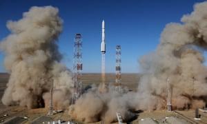 A Russian Proton-M rocket carrying the British communications satellite Inmarsat-5 F3 blasting off.