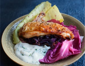 Full of flavour: roast chicken breast, cabbage pickle and lemon mayonnaise.