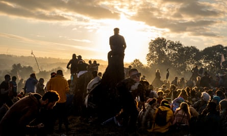 Dawn at the Stone Circle on Monday morning at Glastonbury festival, 2017.