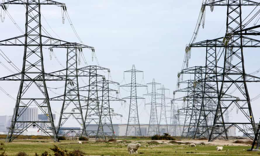 rows of electricity pylons