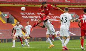 Virgil van Dijk heads Liverpool back into the lead.
