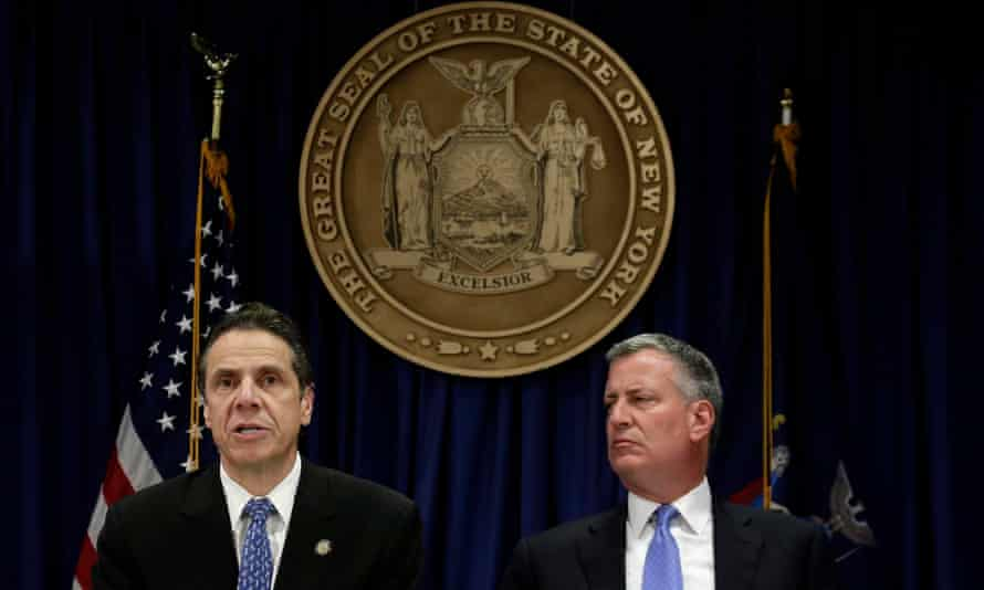 New York Governor Andrew Cuomo and New York Mayor Bill de Blasio during a press conference on new Ebola policies.
