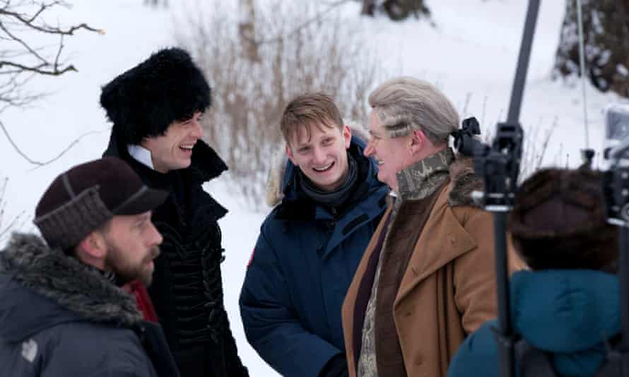 James Norton as Prince Andrei, director Tom Harper, and Jim Broadbent as Prince Bolkonsky during filming of War and Peace.