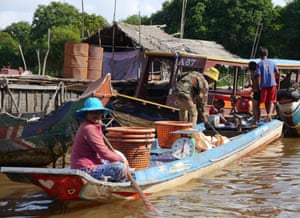 A fishing boat in Kampong Phluk commune, close to Tonlé Sap lake in Cambodia